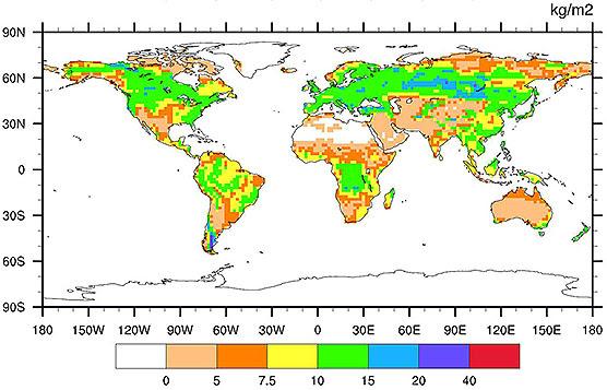 Suomen ympäristökeskuksen (SYKE) Yasso-mallilla ja Max Planck -instituutin ilmastomallilla laskettu kartta maapallon maaperän hiilivaroista vastaa mittauksia. Kivennäismaiden hiilitiheys on korkeimmillaan pohjoisella havumetsävyöhykkeellä. Kuvan lähde: SYKE