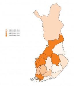Maatalouden kasvihuonekaasupäästöt ELY-alueittain vuonna 2013. Lähde: Tilastokeskus, kasvihuonekaasujen inventaario, http://statdb.luke.fi/charts/pages/charts/indikaattorit/ilmastonmuutos/maatalouden_kasvihuonekaasupaastot_ELY-keskuksittain.html