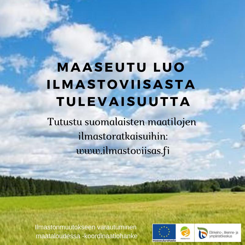 Ilmastonmuutokseen varautumiseksi maatiloilla voidaan toteuttaa lukuisia toimenpiteitä. Näihin kuuluvat mm. maan kasvukunnon hoito, vesitalouden hallinta, monipuolinen viljelykierto, alus- ja kerääjäkasvien käyttö sekä talviaikainen kasvipeitteisyys. Lisäksi fossiilisia polttoaineita voidaan korvata erilaisilla uusiutuvan energian vaihtoehdoilla. Lue lisää maatilojen ilmastotoimista: https://www.ilmase.fi/pilottitilat/hyvia-esimerkkeja-maatilojen-ilmastotoimista/. Kuva: Erkki Oksanen, Luken arkisto.