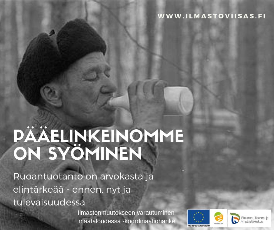 Ruoantuotanto on arvokasta ja elintärkeää –ennen, nyt ja tulevaisuudessa. Kestävän ruokajärjestelmän perusidea: tuottaa ruokaa paikallisilla resursseilla paikalliselle väestölle. Luonnonvarakeskus ylläpitää kattavaa tilastotietokantaa maataloudesta. Lisätietoa: https://stat.luke.fi/ Kuvassa Metsätyömieskirjan kuvitusta, julkaisuvuosi 1972. Kuvaaja: Erkki Heikinheimo. Lähde: Luken arkisto.